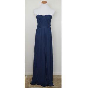 David's Bridal Navy Sweetheart Neckline Long Dress